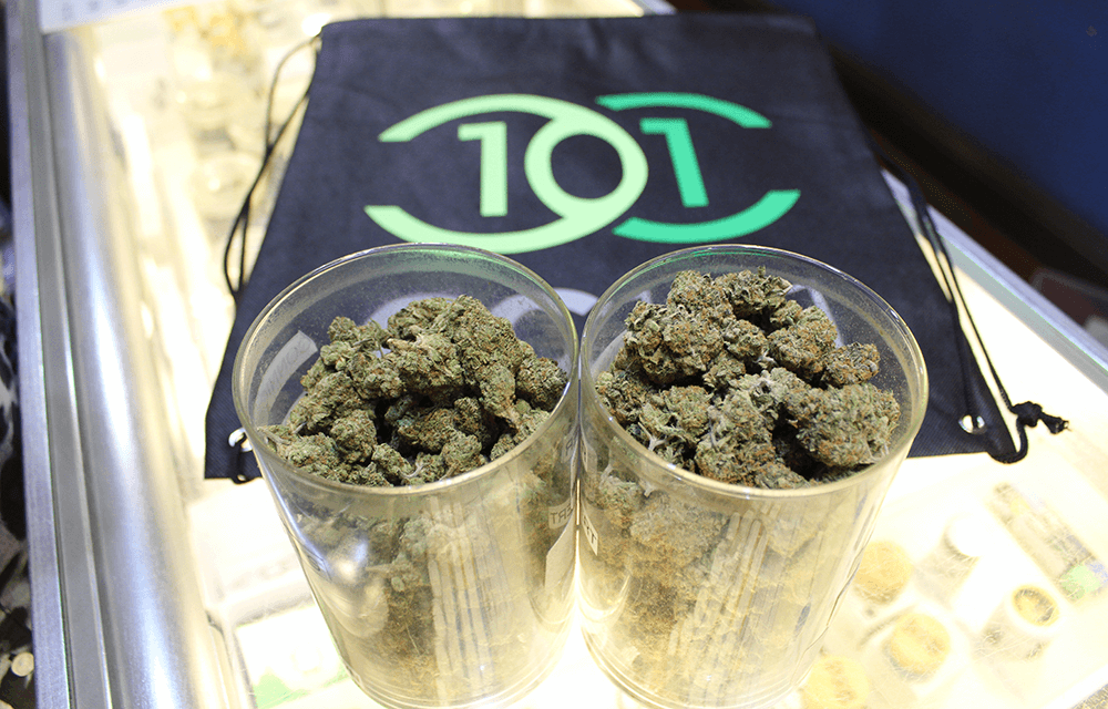 CC101 blog - Best dispensary in Sacramento CC101 jars of cannabis and drawstring backpack